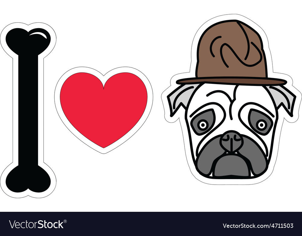 I love pug with old fashion military style vector | Price: 1 Credit (USD $1)
