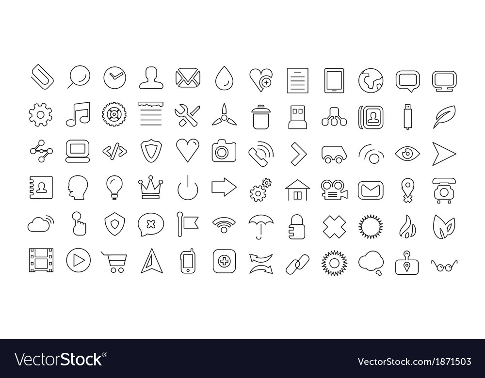 Web line icon set universal thin icons vector | Price: 1 Credit (USD $1)