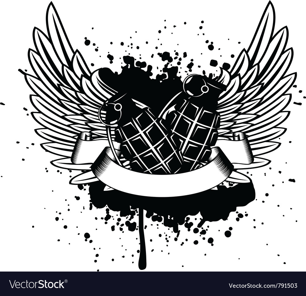 Wings with grenade vector   Price: 1 Credit (USD $1)