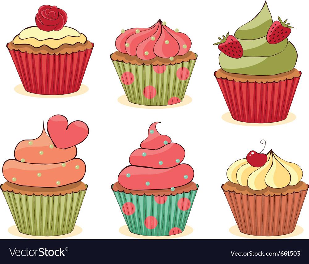 Yummy cupcakes vector