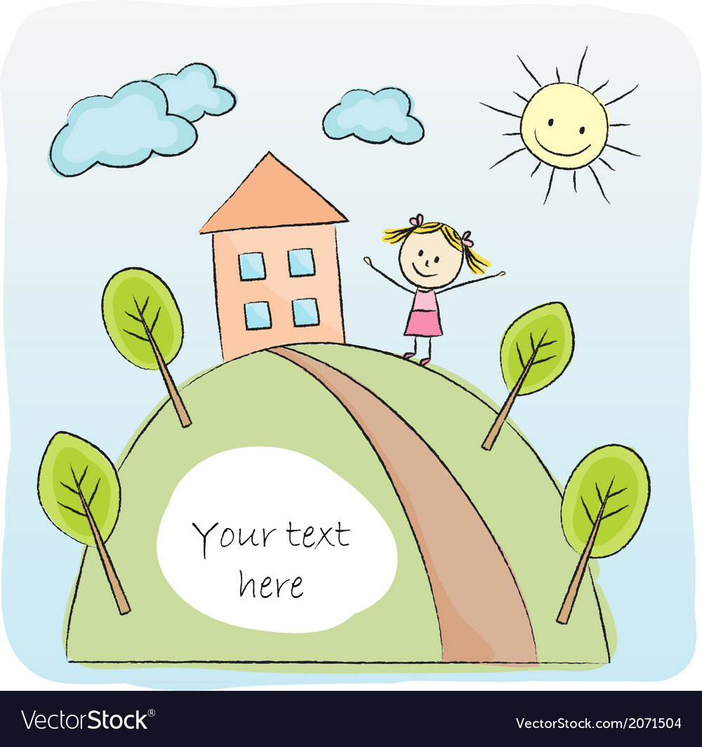 Girl playing in front of the house vector | Price: 1 Credit (USD $1)