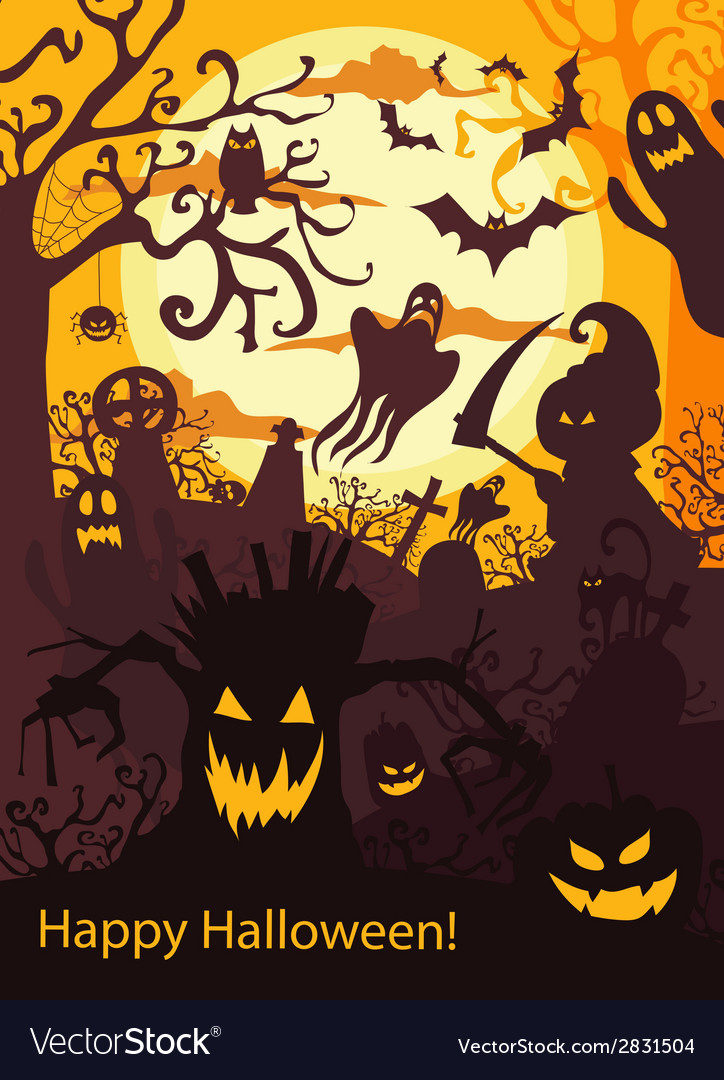 Halloween background with spooky cemetery bare vector | Price: 1 Credit (USD $1)