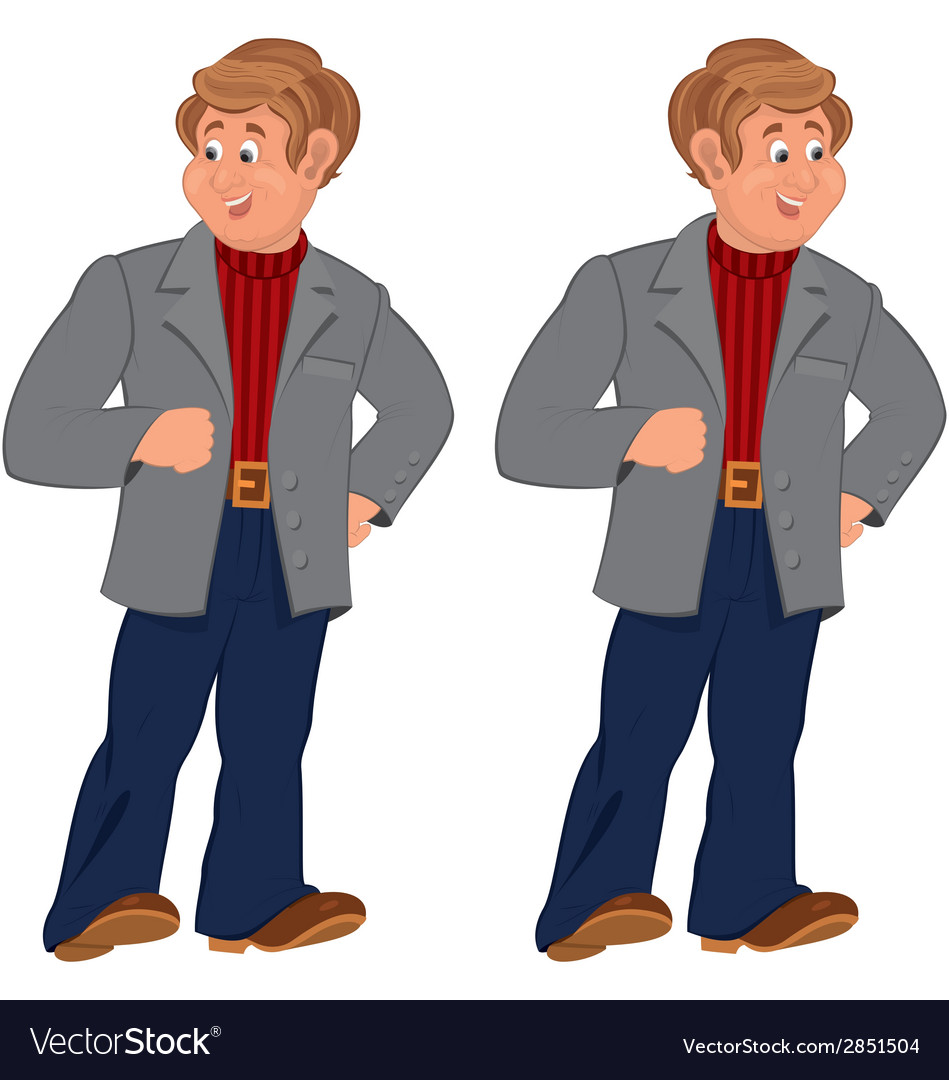 Happy cartoon man standing in gray jacket and vector | Price: 1 Credit (USD $1)