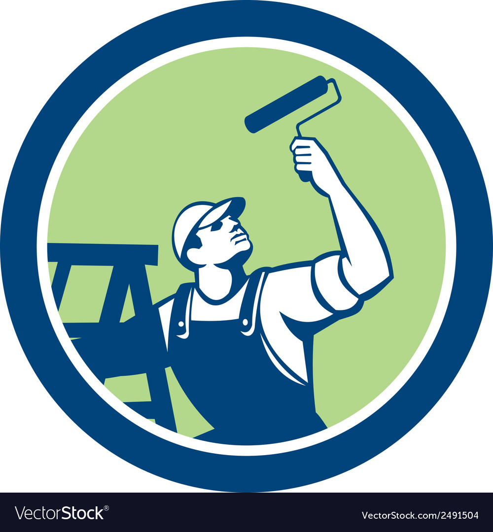 House painter with paint roller and ladder retro vector | Price: 1 Credit (USD $1)
