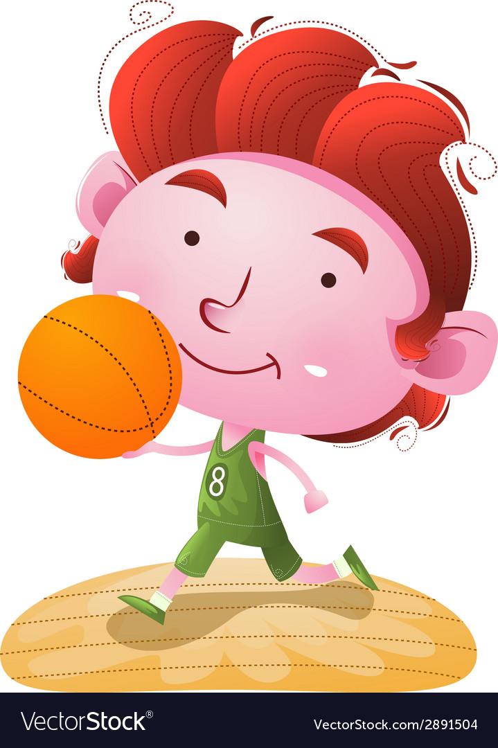 Kids playing basketball vector | Price: 1 Credit (USD $1)
