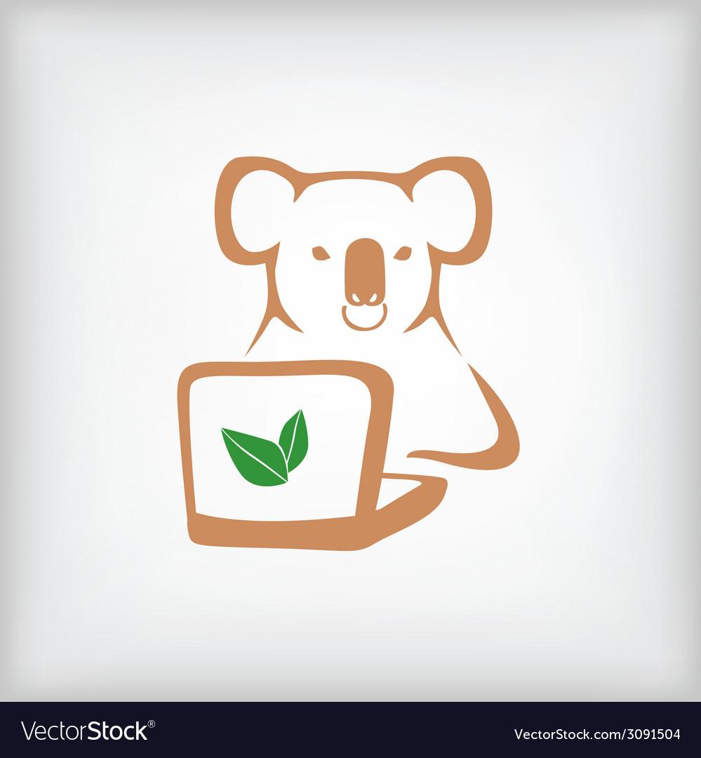 Koala laptop vector | Price: 1 Credit (USD $1)