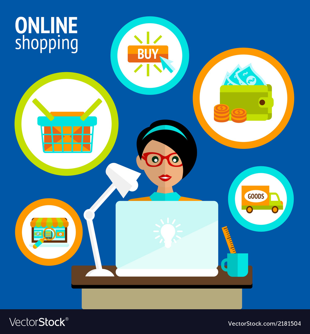 Person laptop online shopping concept vector | Price: 1 Credit (USD $1)