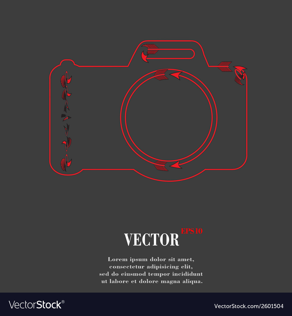 Photo camera flat modern web button and space for vector | Price: 1 Credit (USD $1)