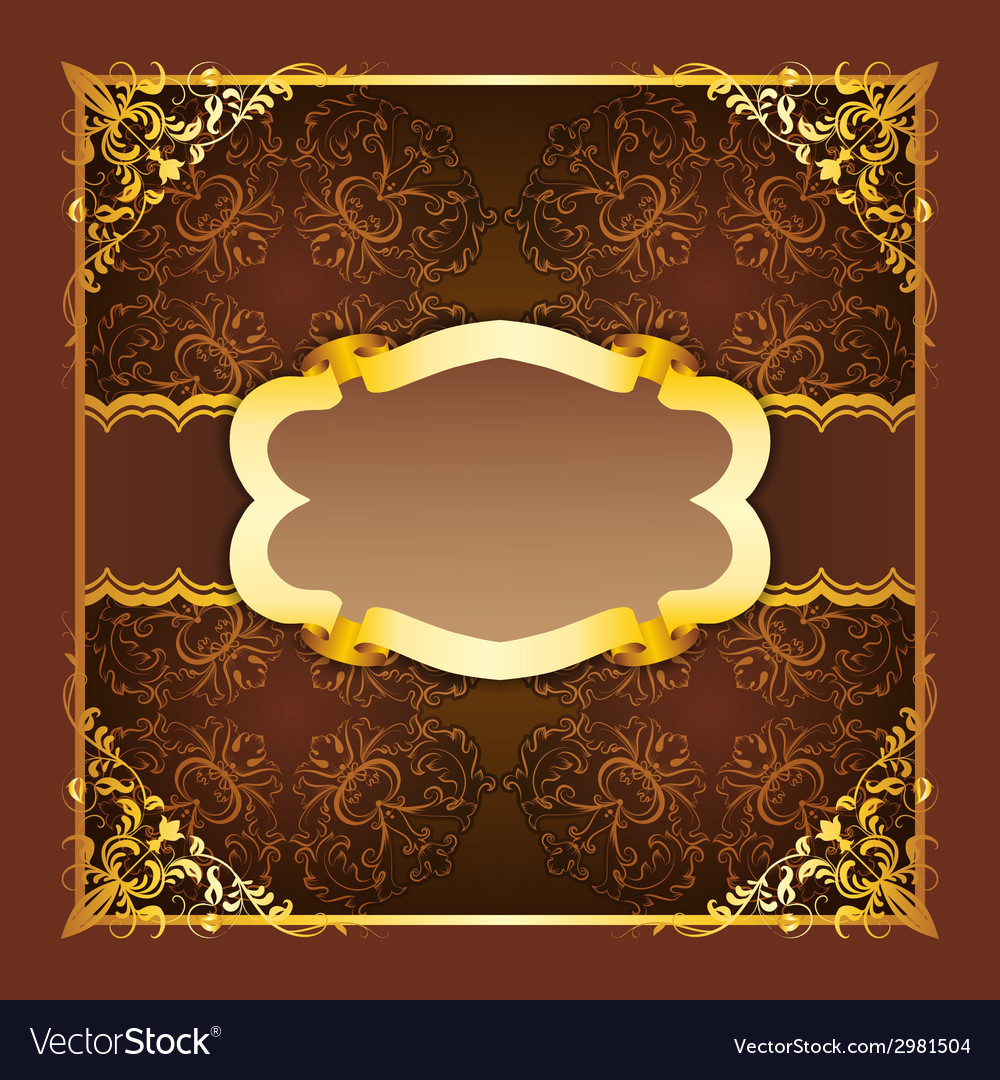 Royal frame with ribbons on seamless ornament vector | Price: 1 Credit (USD $1)