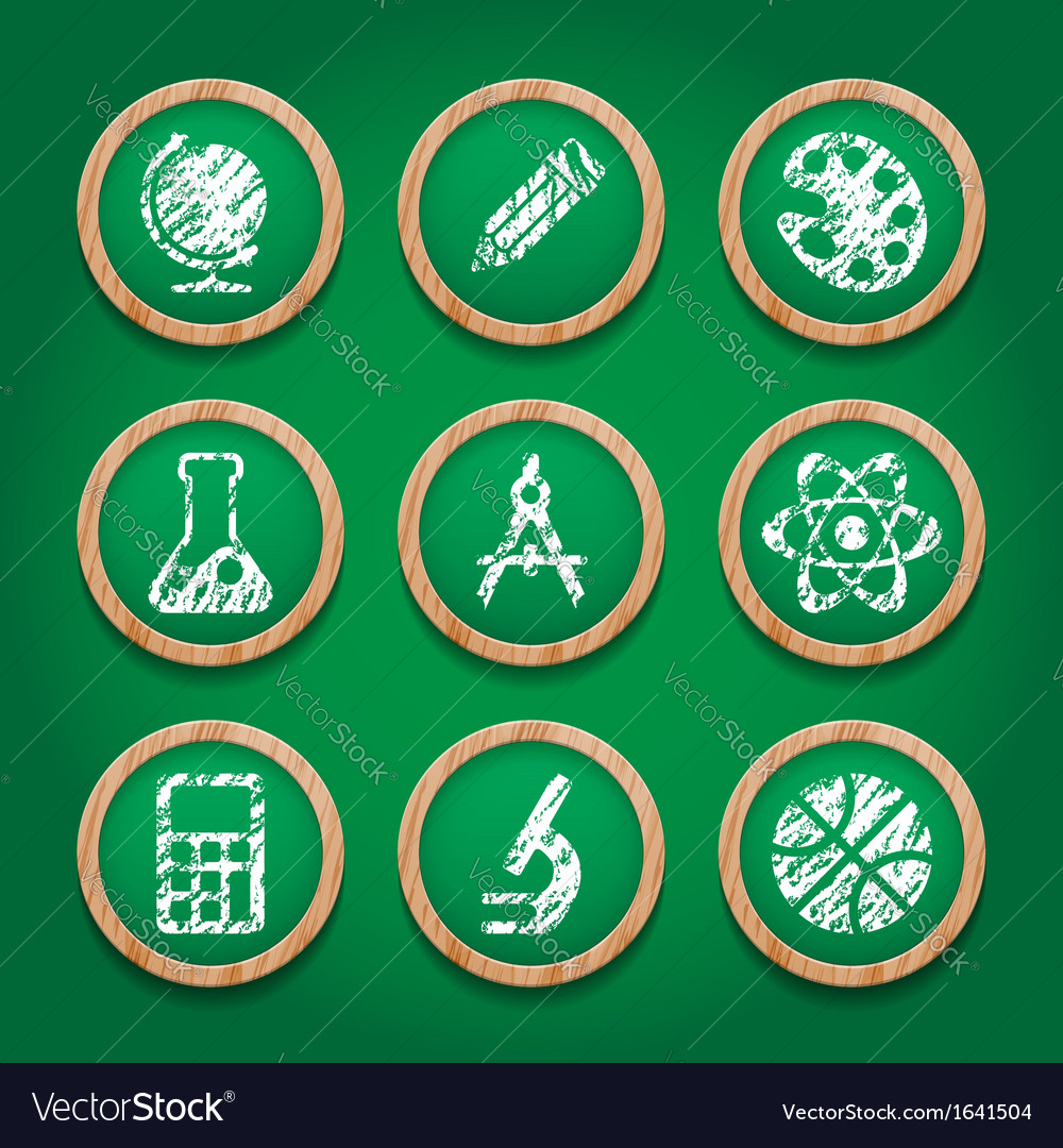 School icon set on chalkboard vector   Price: 1 Credit (USD $1)