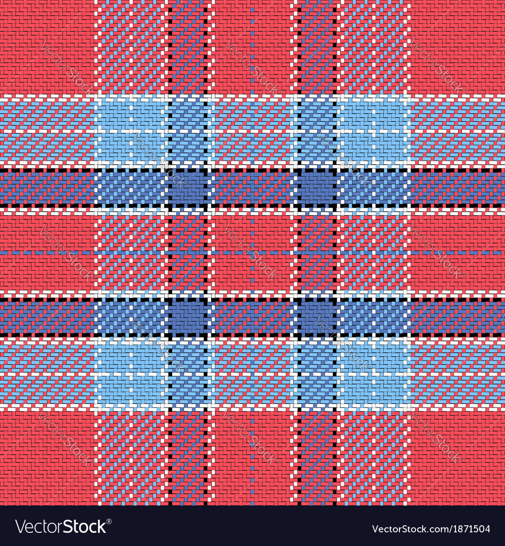 Seamless pattern scottish tartan red and blue vector | Price: 1 Credit (USD $1)