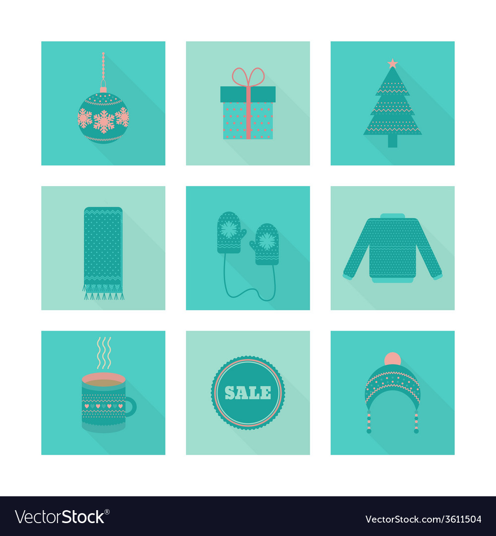 Set of holiday christmas icons in flat style vector | Price: 1 Credit (USD $1)