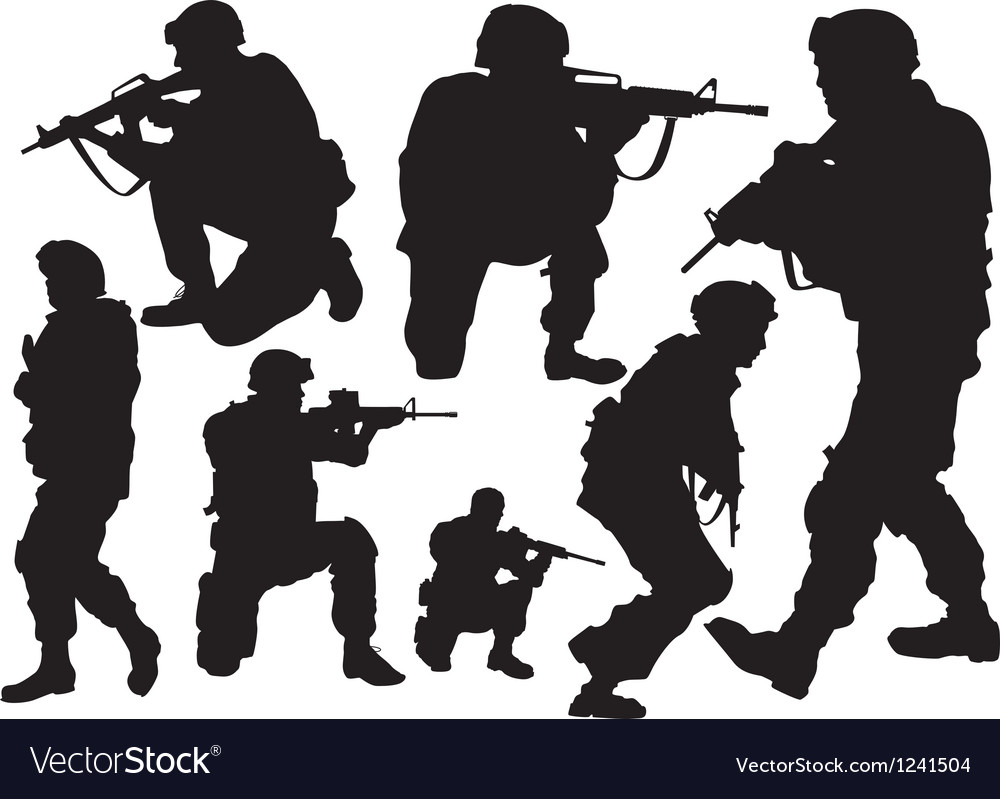 Silhouettes of soldiers vector | Price: 1 Credit (USD $1)