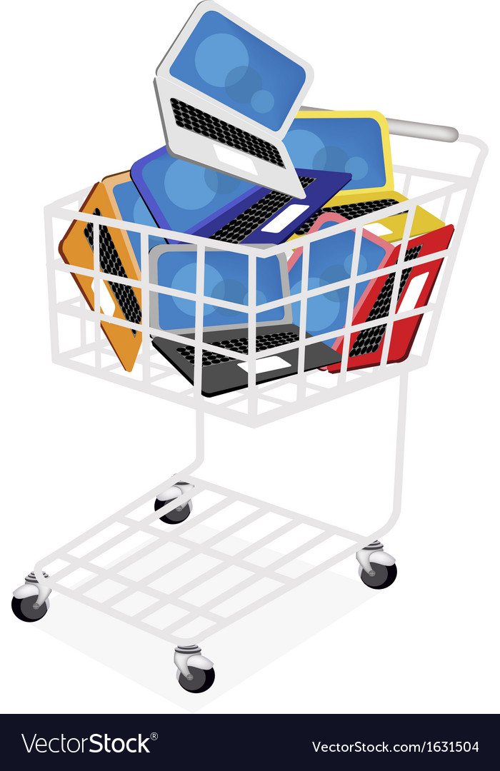 Six colors of laptop computer in shopping cart vector | Price: 1 Credit (USD $1)