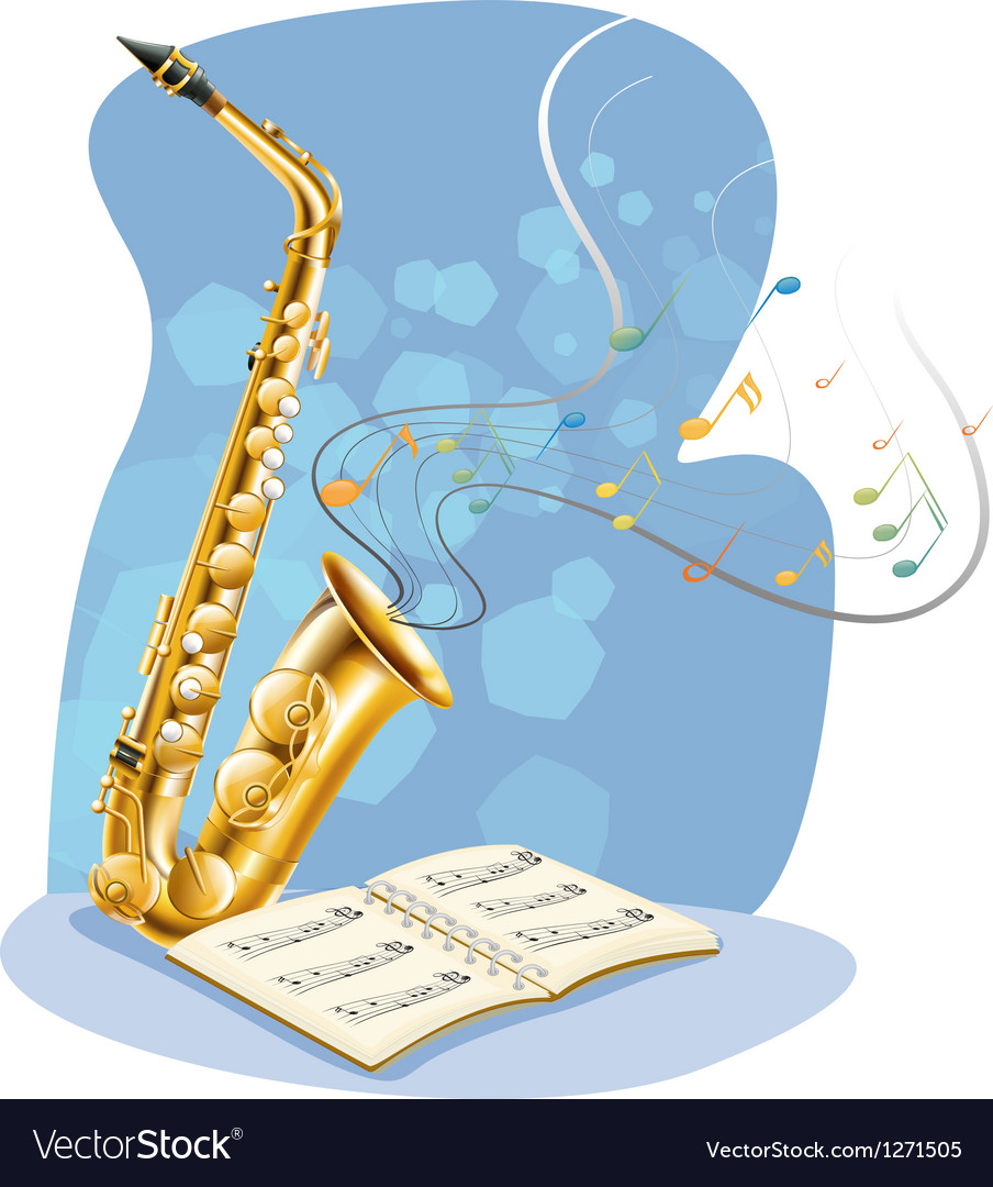 A saxophone with a musical book vector | Price: 1 Credit (USD $1)