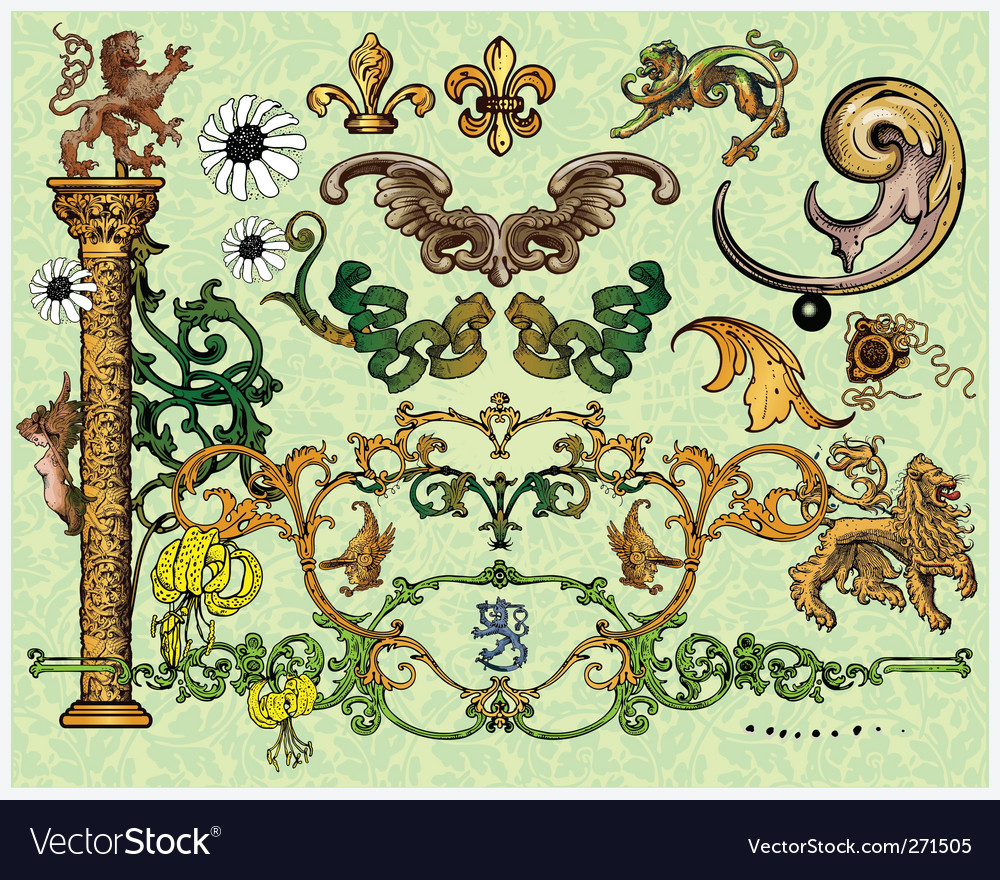 Antique decoration elements vector | Price: 3 Credit (USD $3)