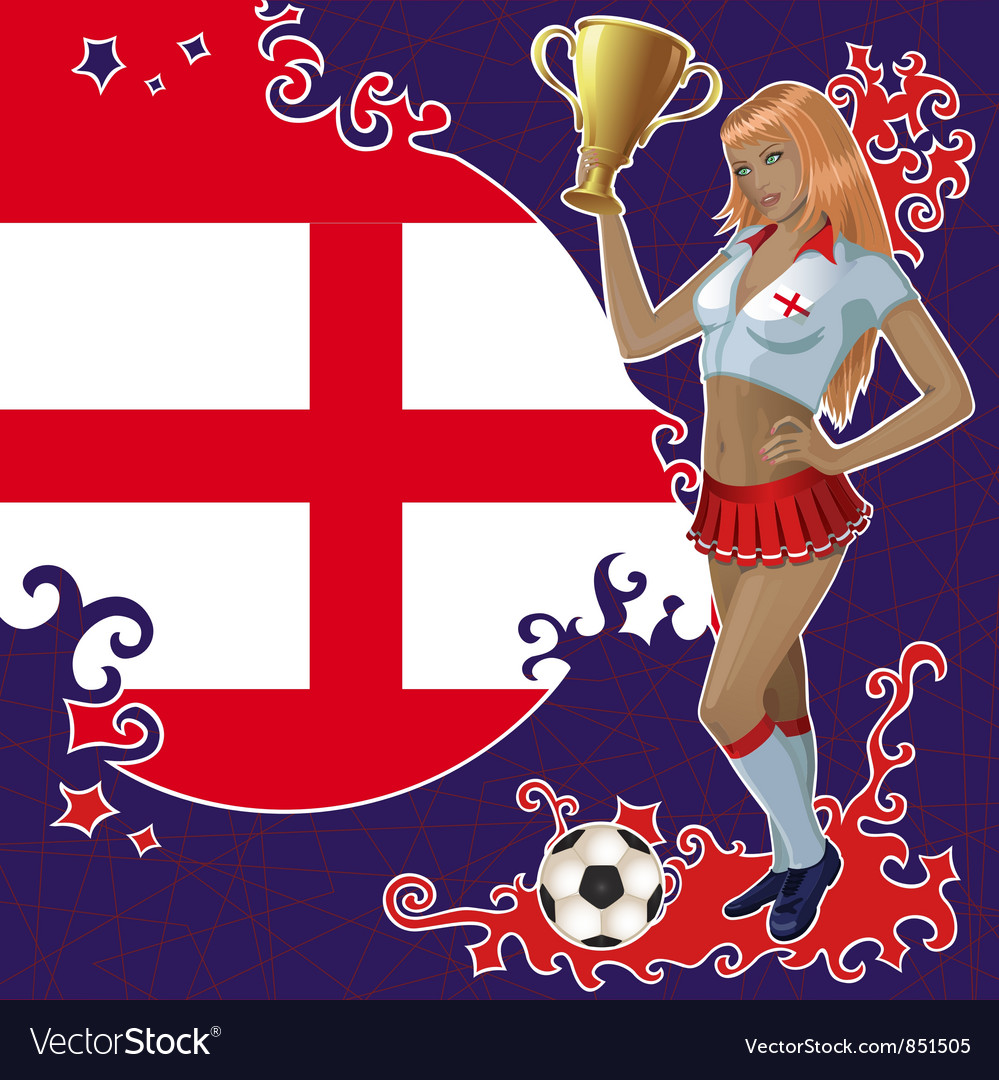 Football poster with girl and english flag vector | Price: 1 Credit (USD $1)