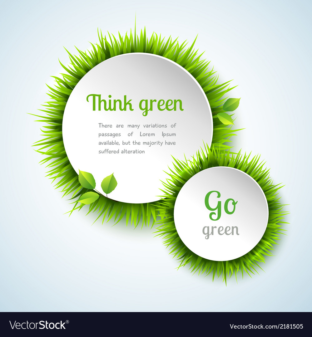 Grass double circle frame set vector | Price: 1 Credit (USD $1)