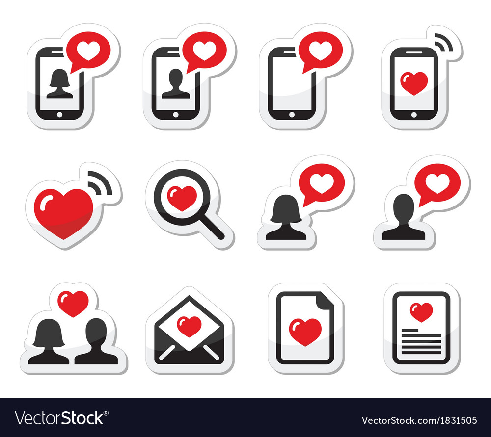 Love couples valentines day icons set vector | Price: 1 Credit (USD $1)