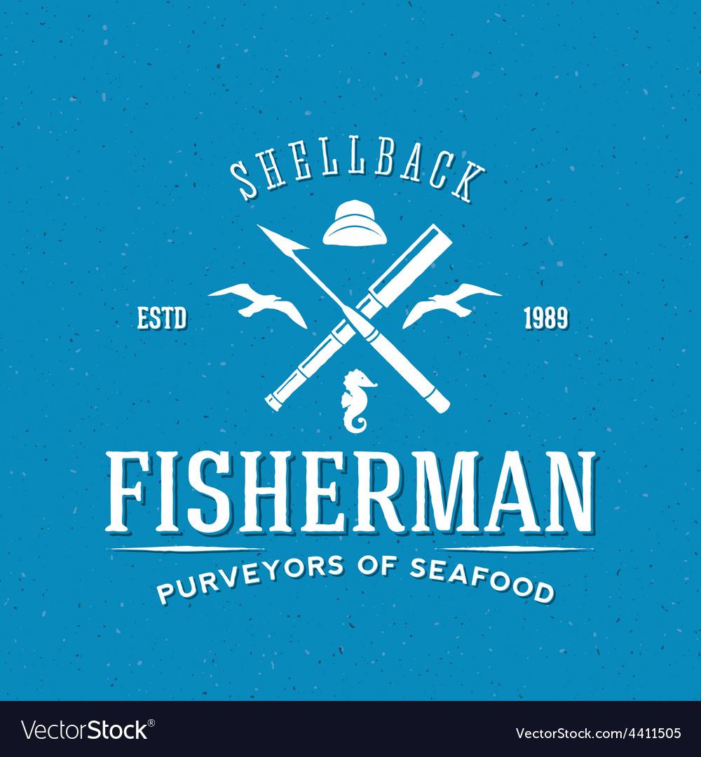 Retro fisherman logo or label template vector | Price: 1 Credit (USD $1)