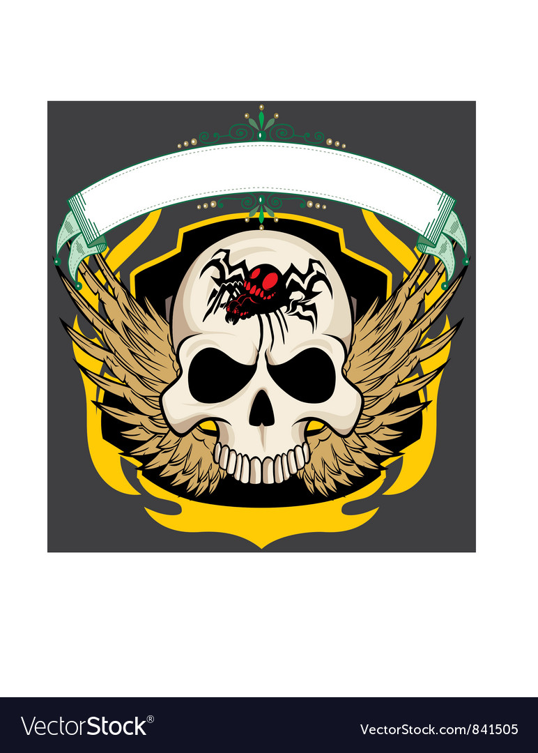 Ribbon skull vector | Price: 1 Credit (USD $1)