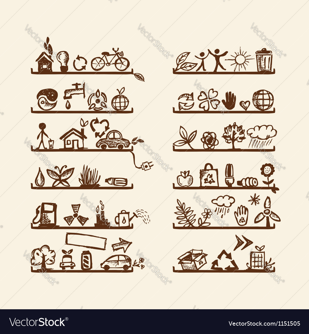 Shelves with ecology icons for yuor design vector | Price: 1 Credit (USD $1)