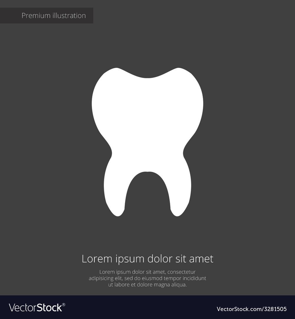 Tooth premium icon white on dark background vector | Price: 1 Credit (USD $1)