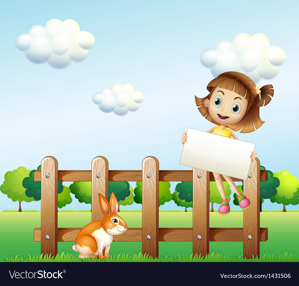 A girl sitting on a wooden fence holding an empty vector