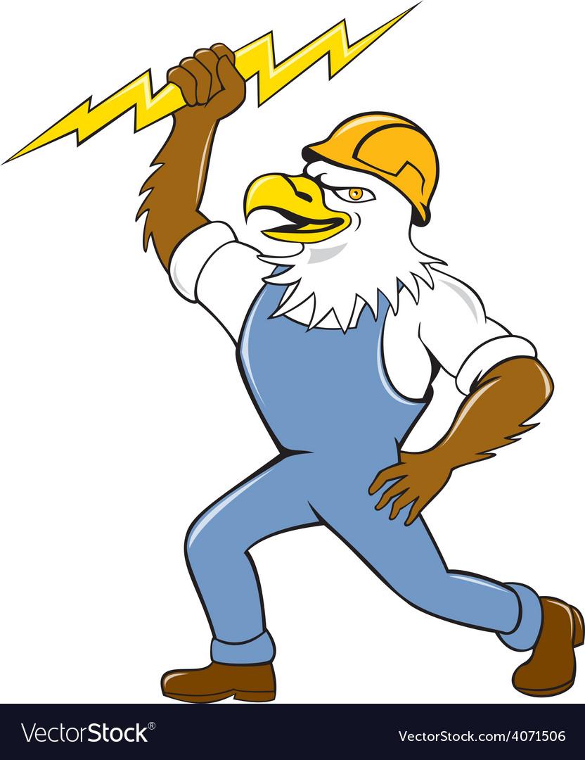 Bald eagle electrician lightning bolt standing vector | Price: 1 Credit (USD $1)