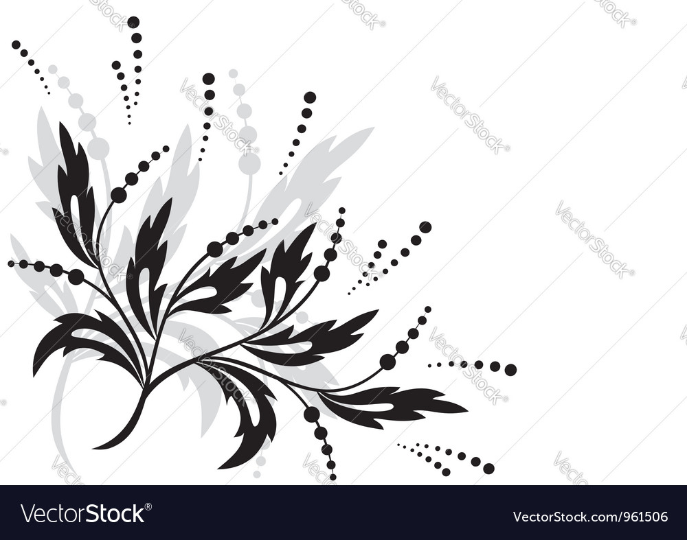 Black floral element for design vector | Price: 1 Credit (USD $1)