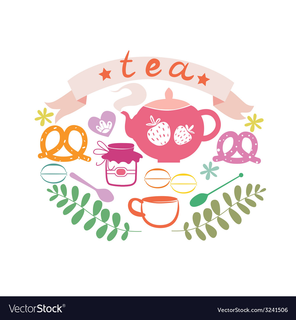 Composition with tea pot and sweets vector | Price: 1 Credit (USD $1)
