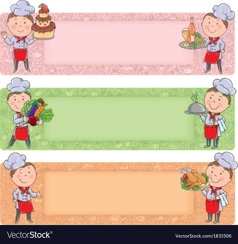 Cute chefs horizontal banners vector | Price: 1 Credit (USD $1)
