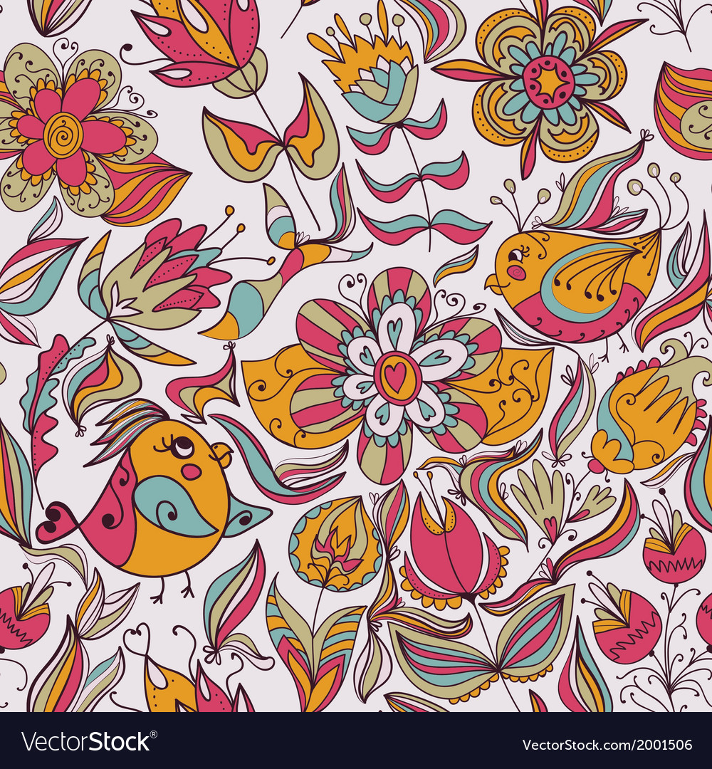 Seamless floral pattern with birds vector | Price: 1 Credit (USD $1)