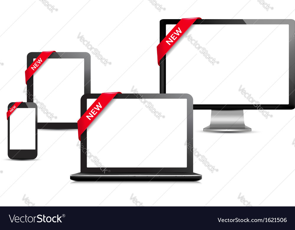 Set of digital devices with sale ribbons vector | Price: 1 Credit (USD $1)