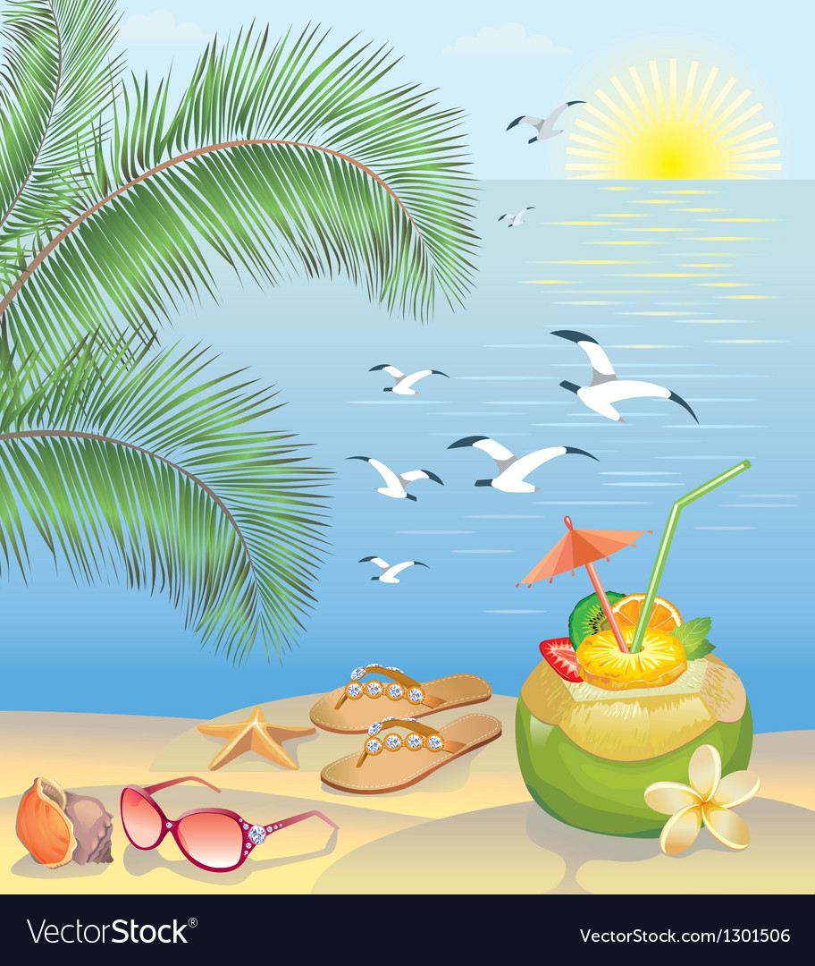 Summer beach landscape vector | Price: 1 Credit (USD $1)