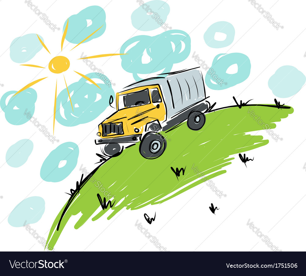 Truck on meadow sketch for your design vector | Price: 1 Credit (USD $1)