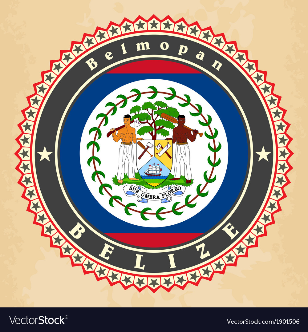 Vintage label cards of belize flag vector | Price: 1 Credit (USD $1)