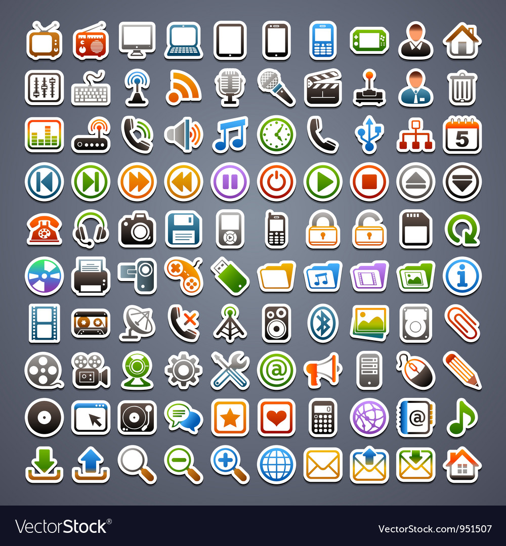 100 sticker icons vector | Price: 3 Credit (USD $3)