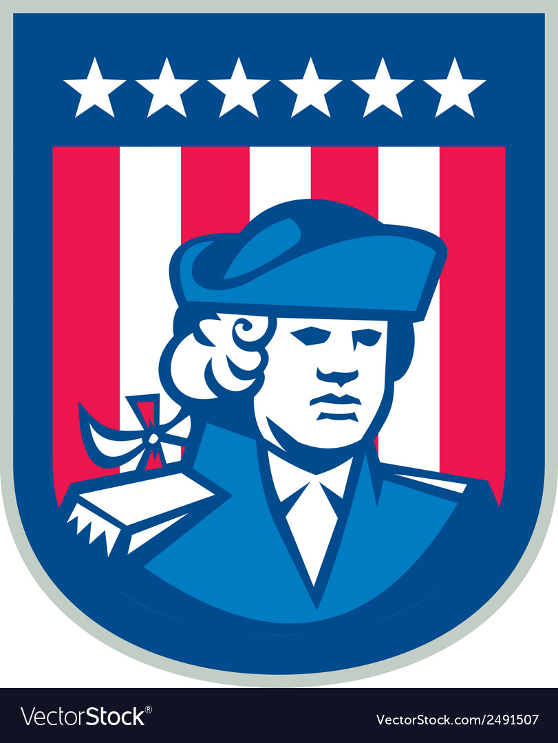 American patriot head bust shield retro vector | Price: 1 Credit (USD $1)