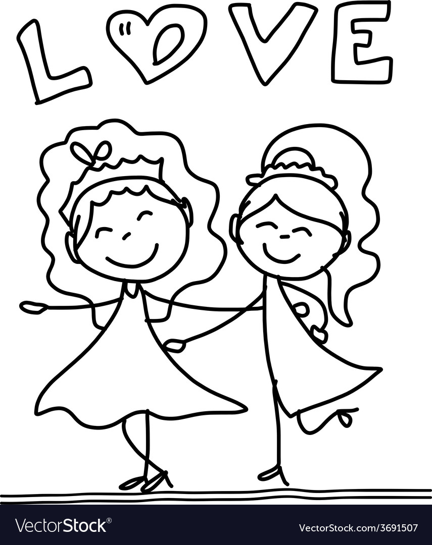 Cartoon happy same sex couple wedding vector | Price: 1 Credit (USD $1)