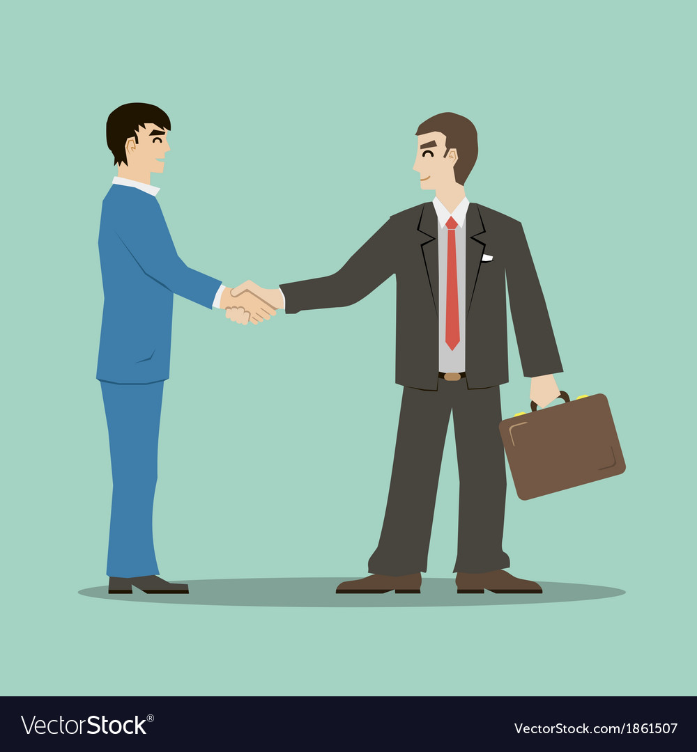Flat design style businessmans shaking hands vector | Price: 1 Credit (USD $1)