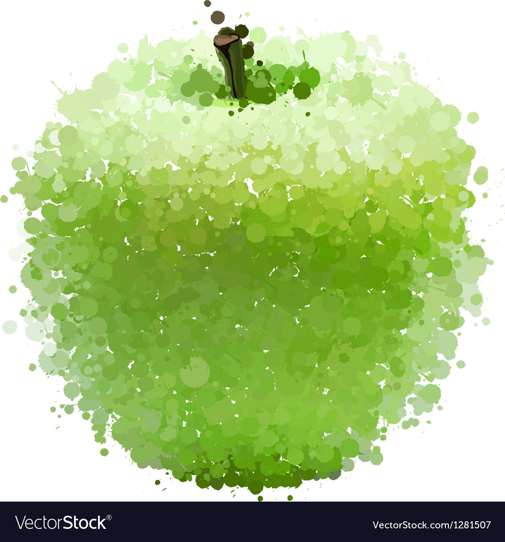 Green apple of blots isolated on white vector | Price: 1 Credit (USD $1)