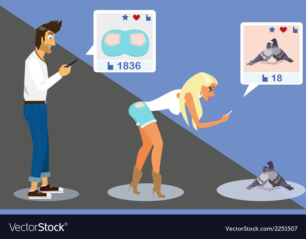 Guy is taking a snapshot of blond woman for social vector | Price: 1 Credit (USD $1)
