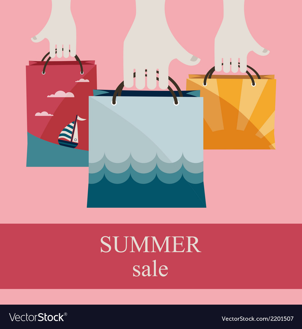 Hands holding shopping bags to promote sales vector | Price: 1 Credit (USD $1)