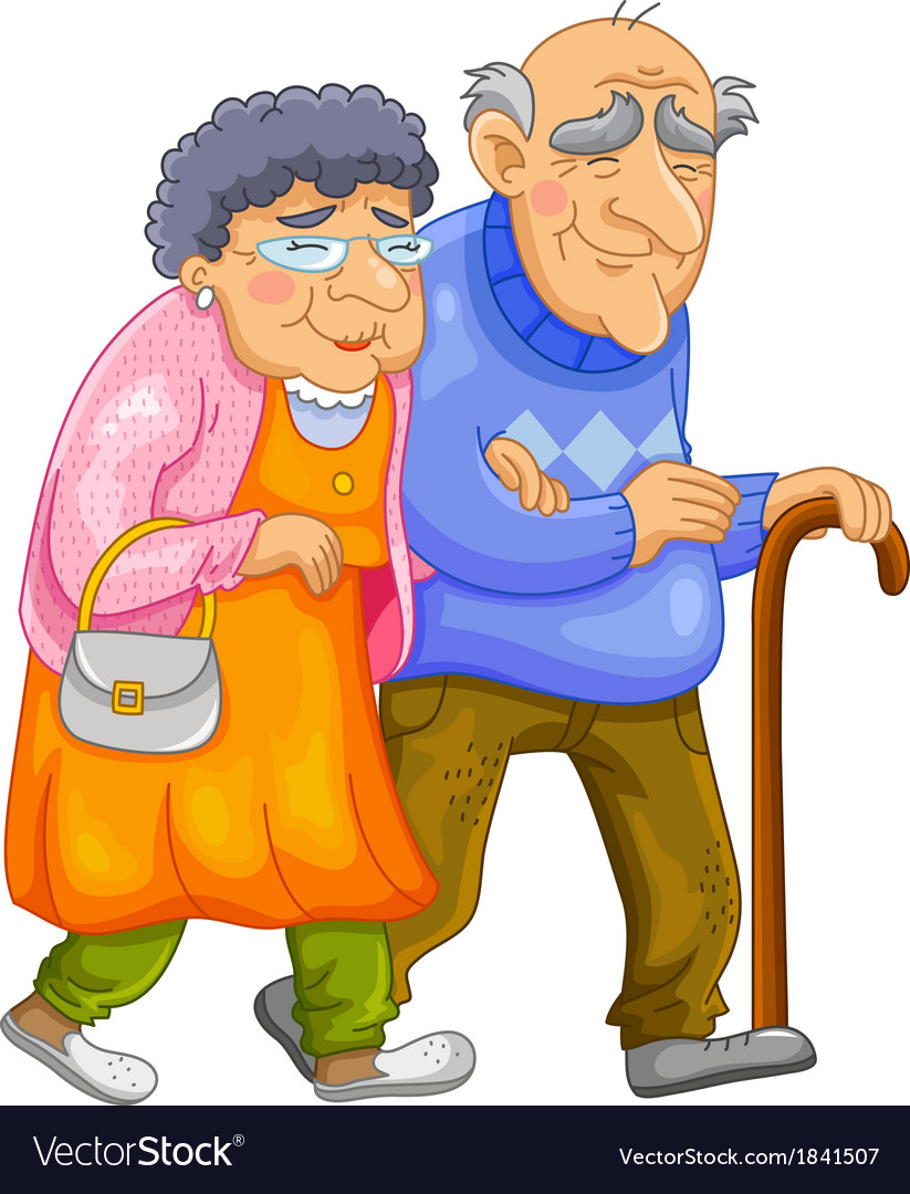 Happy old couple vector | Price: 1 Credit (USD $1)