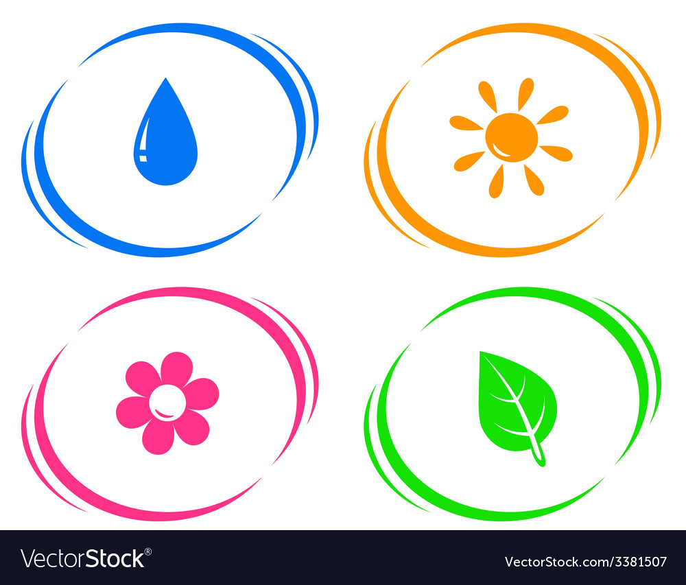 Round icons with water drop sun flower and green vector | Price: 1 Credit (USD $1)