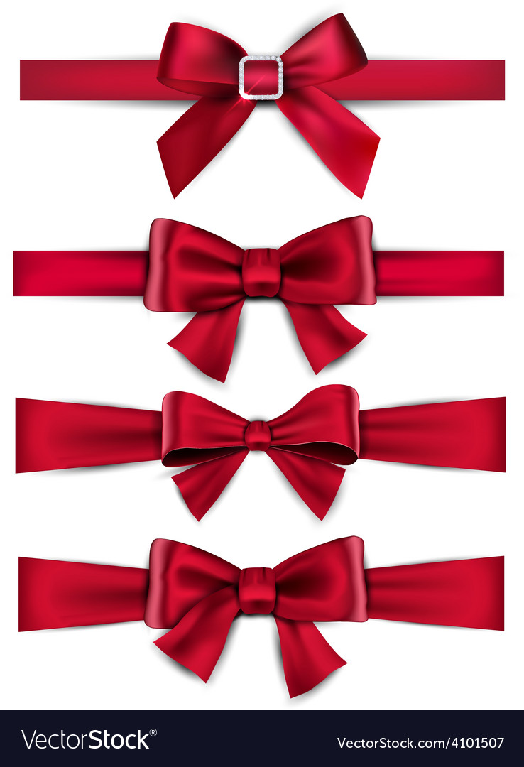 Satin red ribbons gift bows vector | Price: 1 Credit (USD $1)