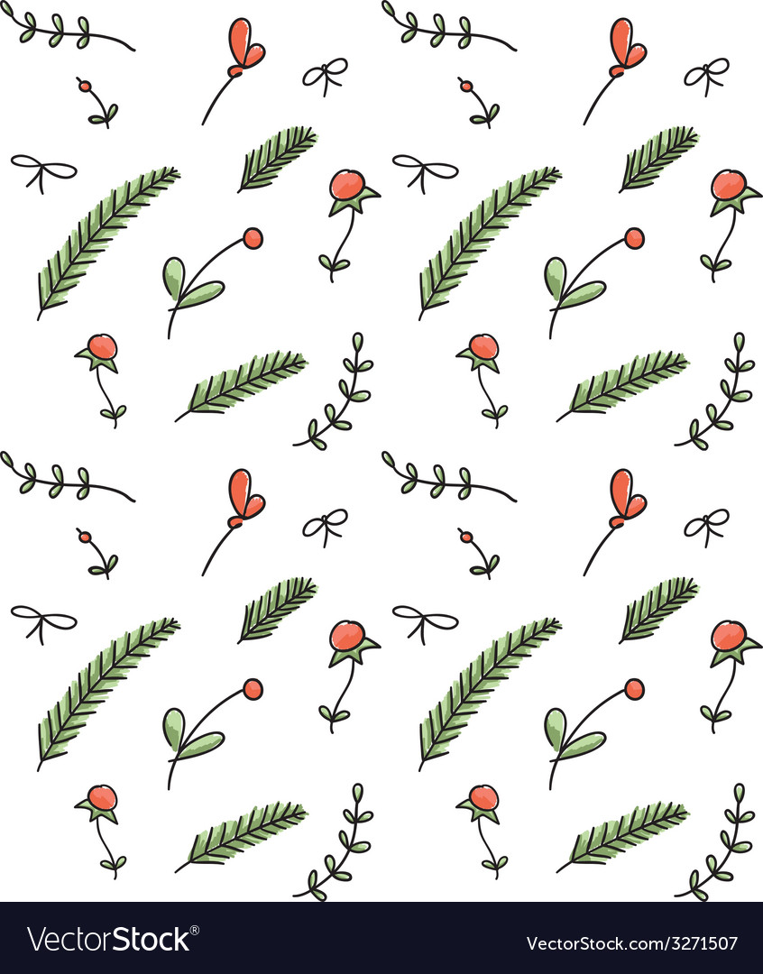 Seamless floral hand drawn pattern vector | Price: 1 Credit (USD $1)