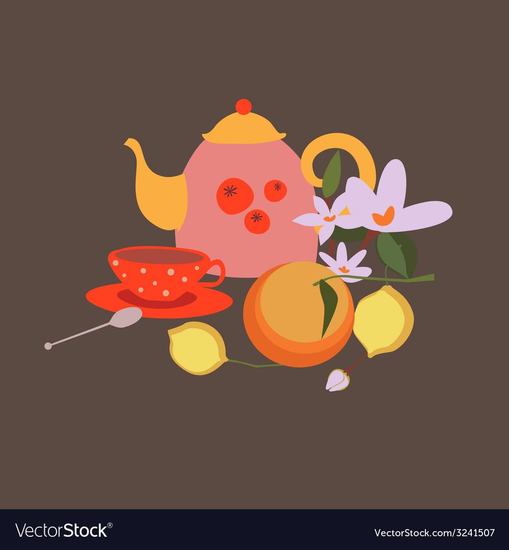 Tea still life vector | Price: 1 Credit (USD $1)