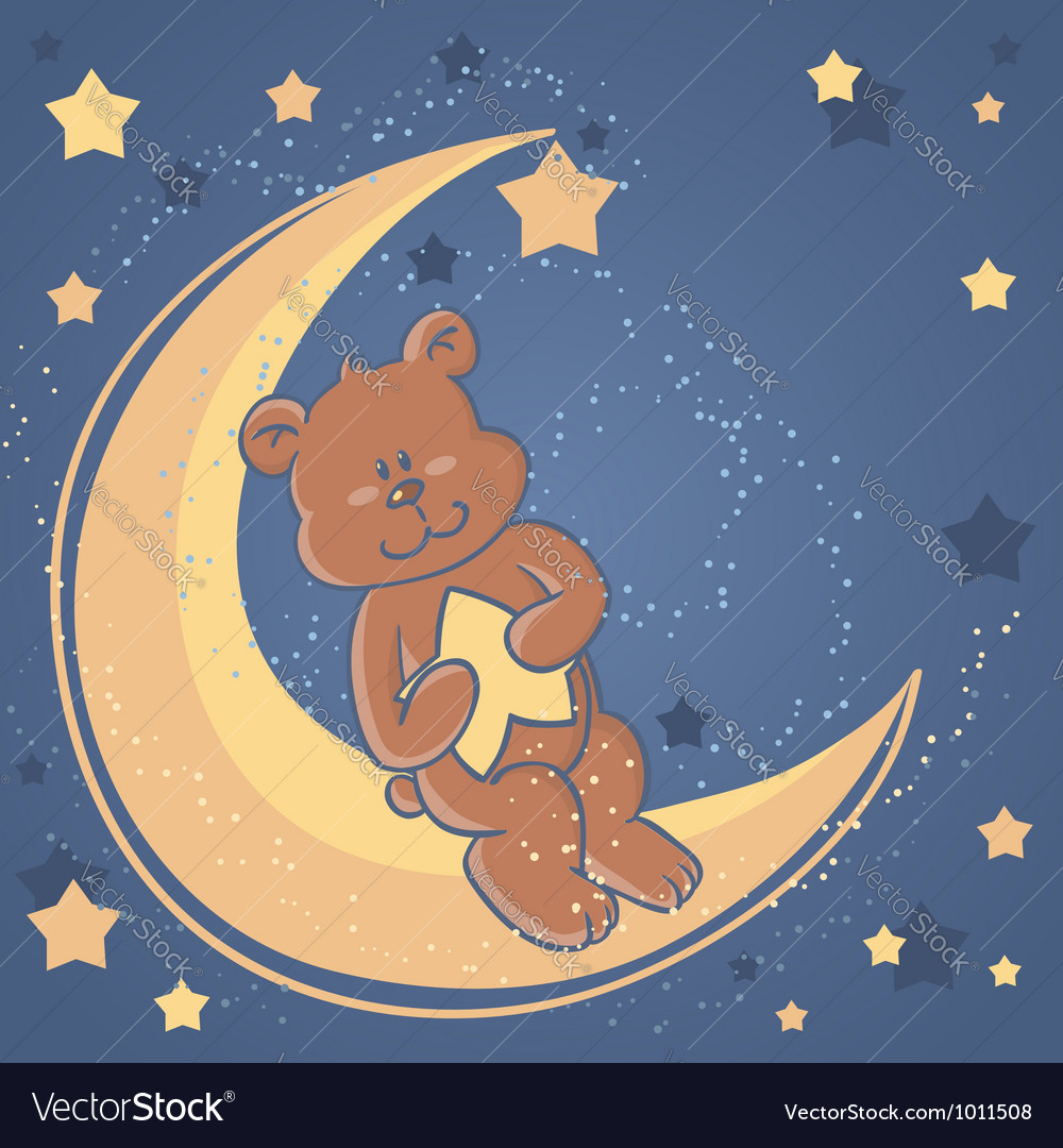Bear sweet dreams card vector | Price: 1 Credit (USD $1)
